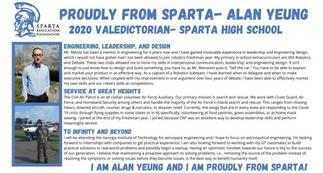 Proudly from Sparta –Alan Yeung, 2020 Valedictorian