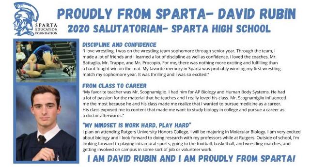 Proudly from Sparta David Rubin, 2020 Salutatorian